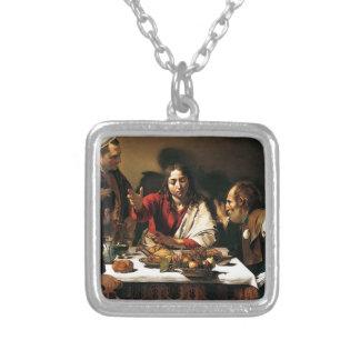 Colar Banhado A Prata Caravaggio - ceia em Emmaus - pintura clássica