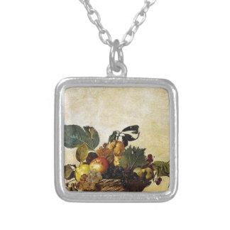 Colar Banhado A Prata Caravaggio - cesta da fruta - trabalhos de arte