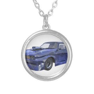 Colar Banhado A Prata Carro de competência azul da estrela