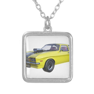 Colar Banhado A Prata carro do músculo dos anos 70 no amarelo e no preto