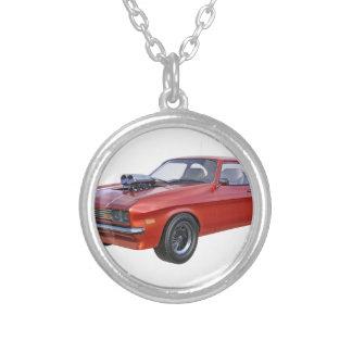 Colar Banhado A Prata carro vermelho do músculo dos anos 70