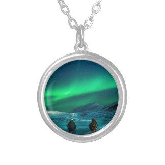 Colar Banhado A Prata Casal verde da paisagem da aurora boreal