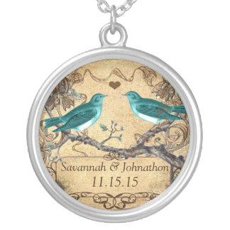 Colar Banhado A Prata Casamento rústico romântico do Lovebird da cerceta