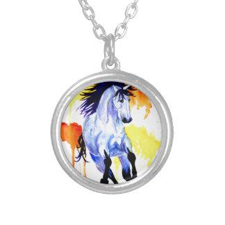 Colar Banhado A Prata Cavalo selvagem da aguarela