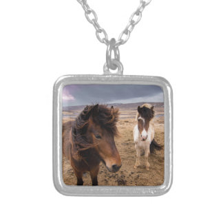 Colar Banhado A Prata Cavalos de Islândia