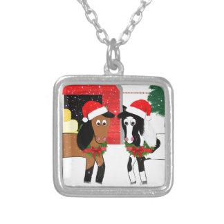 Colar Banhado A Prata Cavalos do Natal