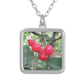Colar Banhado A Prata Cerejas vermelhas de Montmorency na árvore no