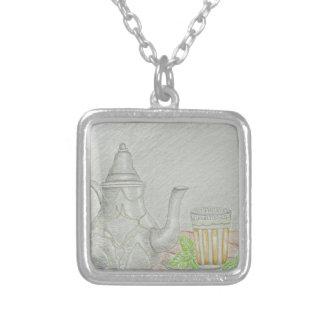 Colar Banhado A Prata chá com hortelã