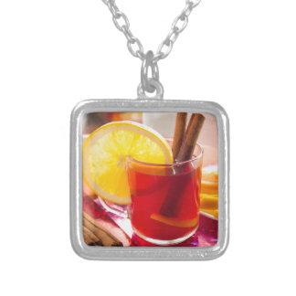 Colar Banhado A Prata Chá do citrino da fruta com canela e laranja