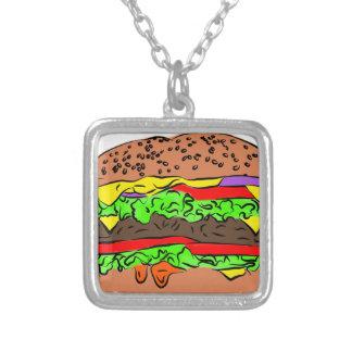 Colar Banhado A Prata Cheeseburger