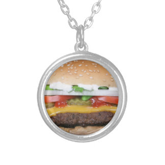 Colar Banhado A Prata cheeseburger delicioso com fotografia das