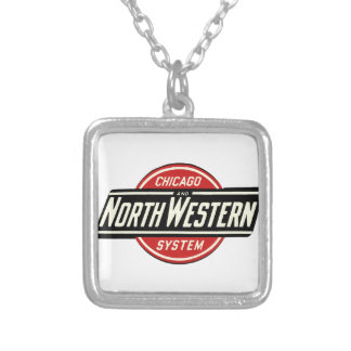 Colar Banhado A Prata Chicago & logotipo do noroeste 1 da estrada de