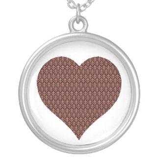 Colar Banhado A Prata Chocolate & coração cor-de-rosa do Pi