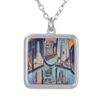 Colar Banhado A Prata Cidade de Chicago do vintage