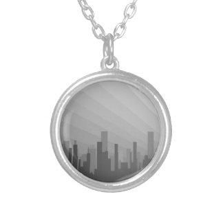 Colar Banhado A Prata Cidade Greyscape