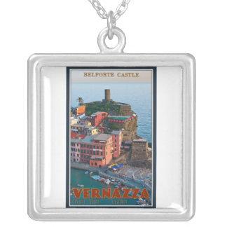 Colar Banhado A Prata Cinque Terre - castelo de Vernazza Belforte