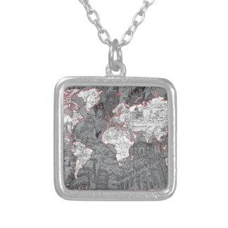 Colar Banhado A Prata cinza do mapa do mundo