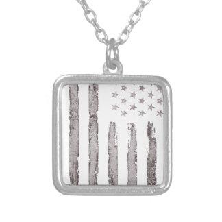 Colar Banhado A Prata Cinza do vintage da bandeira americana