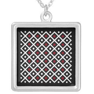 Colar Banhado A Prata Círculo vermelho da geometria & teste padrão