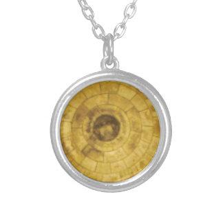 Colar Banhado A Prata círculos de pedra amarelos