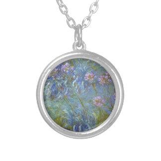 Colar Banhado A Prata Claude Monet - pintura clássica das flores do