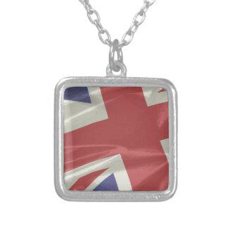 Colar Banhado A Prata Close up de seda da bandeira de Union Jack