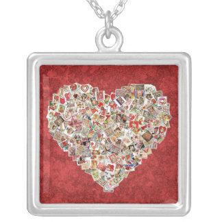 Colar Banhado A Prata Colagem do coração do cartão dos namorados do