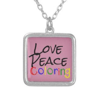 Colar Banhado A Prata Coloração da paz do amor