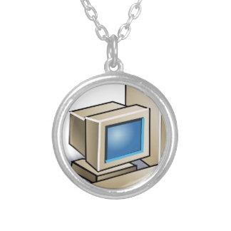 Colar Banhado A Prata Computador retro