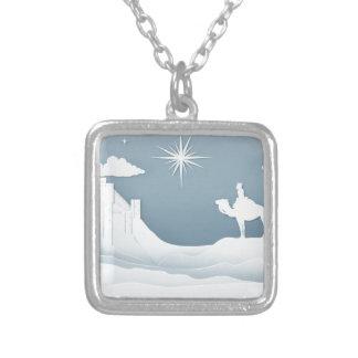 Colar Banhado A Prata Conceito do Natal da natividade dos homens sábios