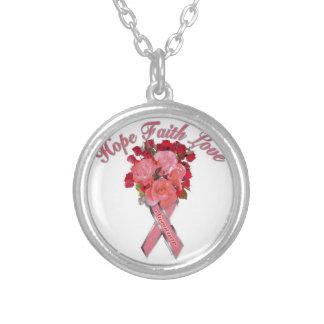 Colar Banhado A Prata Consciência do cancro da mama