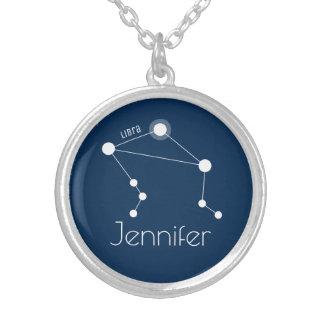 Colar Banhado A Prata Constelação personalizada do zodíaco do Libra