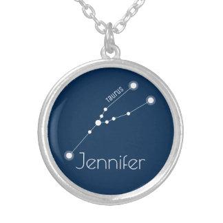 Colar Banhado A Prata Constelação personalizada do zodíaco do Taurus