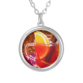 Colar Banhado A Prata Copo transparente do chá com citrino e canela