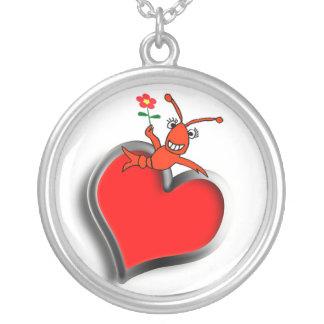Colar Banhado A Prata Coração bonito do amor dos lagostins/lagosta