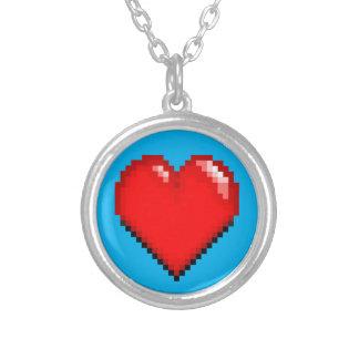 Colar Banhado A Prata Coração da vida do videogame - coração do pixel
