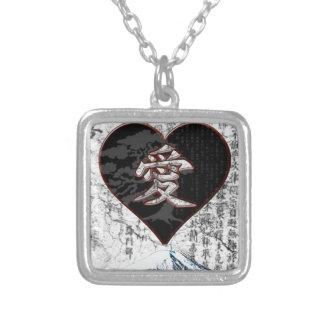 Colar Banhado A Prata Coração de Fuji - amor do Kanji - preto & vermelho