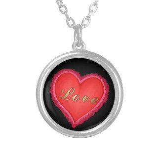 Colar Banhado A Prata Coração do amor