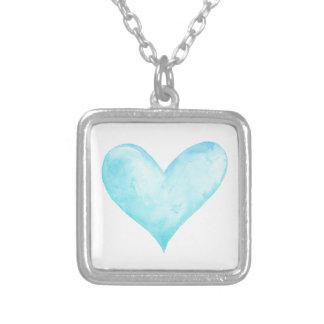Colar Banhado A Prata Coração do azul da aguarela
