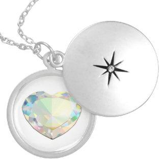 Colar Banhado A Prata Coração do diamante