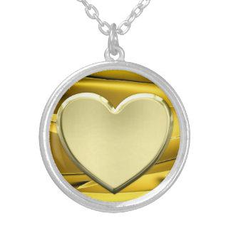 Colar Banhado A Prata Coração dourado