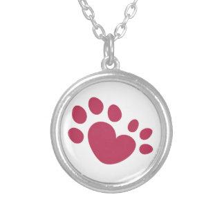 Colar Banhado A Prata Coração Polydactyl do impressão da pata do gato