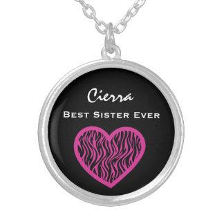 Colar Banhado A Prata Coração PRETO V026 da ZEBRA do melhor ROSA da irmã