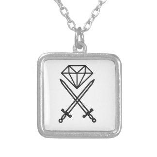 Colar Banhado A Prata Corte do diamante
