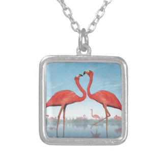 Colar Banhado A Prata Corte dos flamingos - 3D rendem