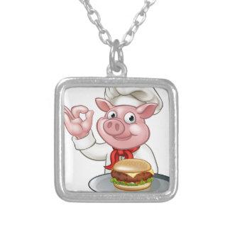 Colar Banhado A Prata Cozinheiro chefe do porco que guardara o
