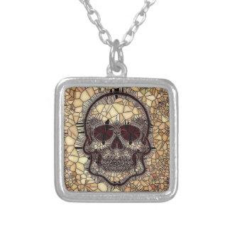 Colar Banhado A Prata Crânio de vidro do mosaico, bege