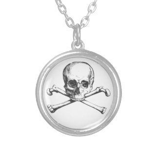 Colar Banhado A Prata Crânio e Crossbone do pirata