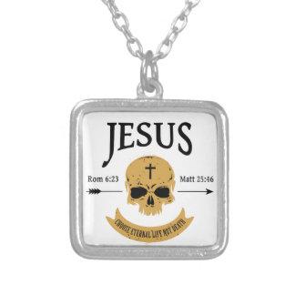 Colar Banhado A Prata Cristão da vida eterna do crânio de Jesus