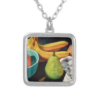 Colar Banhado A Prata Da banana de Apple da pera vida ainda